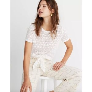MADEWELL Modern Tie Front Tee Geo Eyelet Small